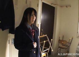 Striking nipponese Ruka Kanae reveals her round tits while being muff dived